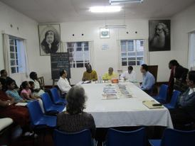 Giving a lecture on Buddhism at the Theosophical Society in Nairobi